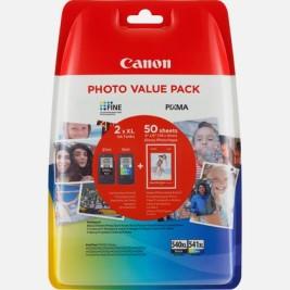 Cartuccia Inchiostro Canon Pixma PG-540XL + CL-541XL + 50 fogli carta fotografica – Kit Nero + Colore