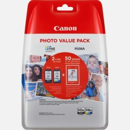 Cartuccia Inchiostro Canon Pixma PG-545XL + CL-546XL + 50 fogli carta fotografica – Kit Nero + Colore